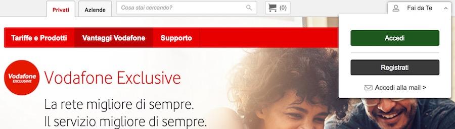 accedi area fai da te per disattivare Vodafone Exclusive