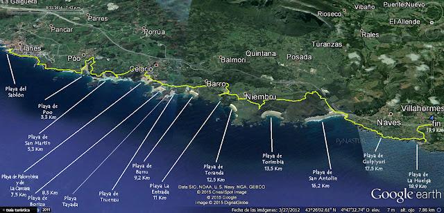 Mapa general Senda Costera Llanes a Villahormes