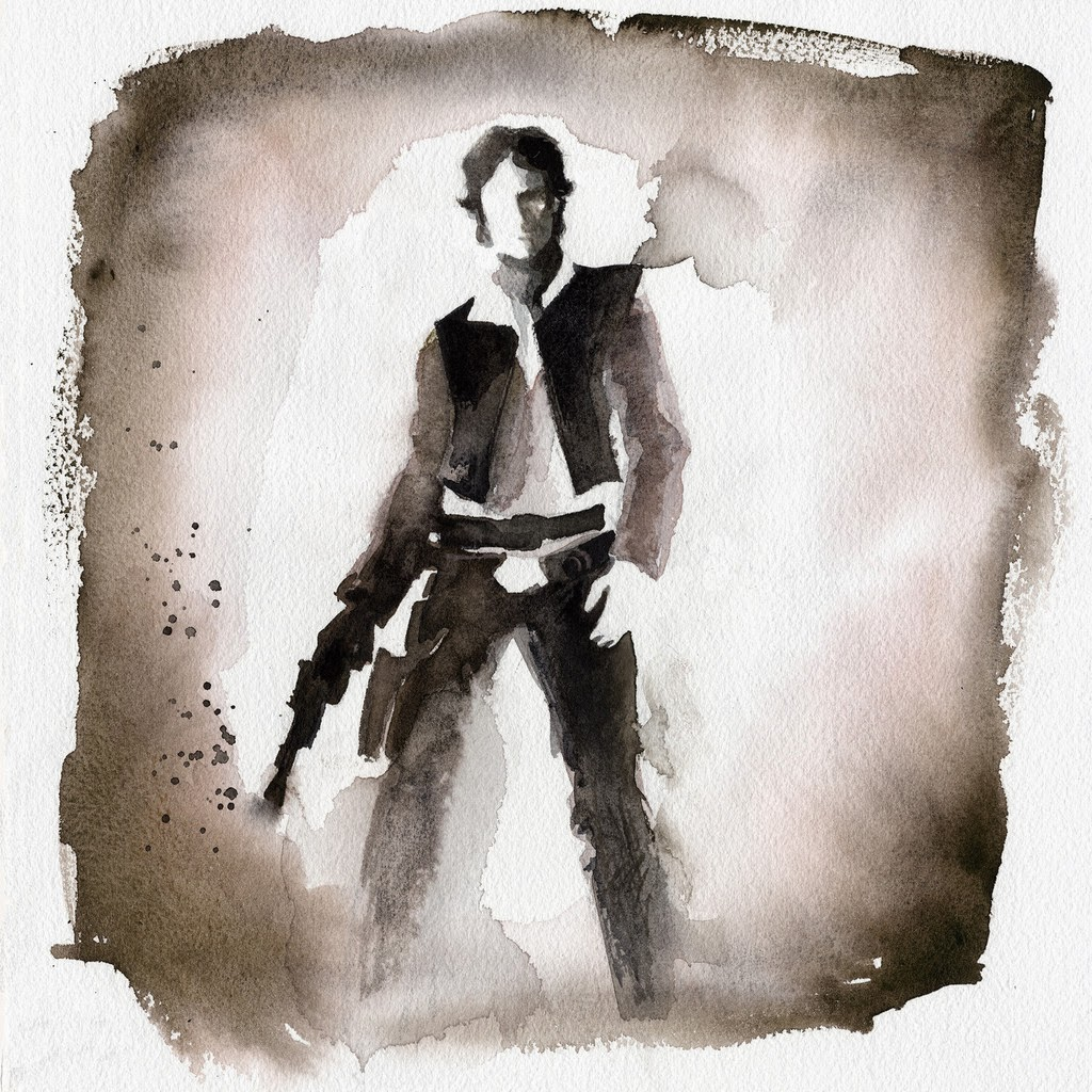 04-Han-Solo-Harrison-Ford-Clémentine-Campardou-Blule-Star-Wars-IV-V-VI-Watercolors-www-designstack-co