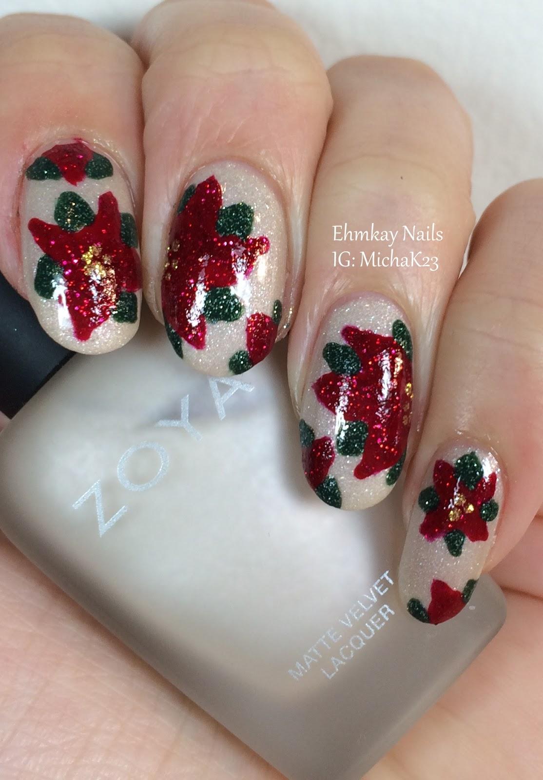 Ehmkay Nails: Christmas Poinsettia Nail Art With Zoya Nail
