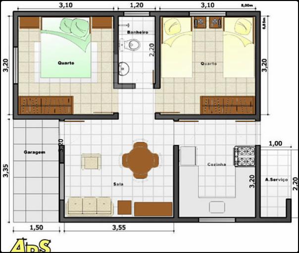 planta de casa com quartos grandes