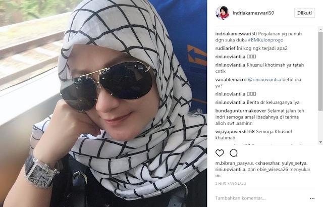 """""""Perjalanan yang penuh dengan suka duka"""" tulis PNS Cantik sehari sebelum tewas mengenaskan di akun Instagramnya, @indriakameswari50."""