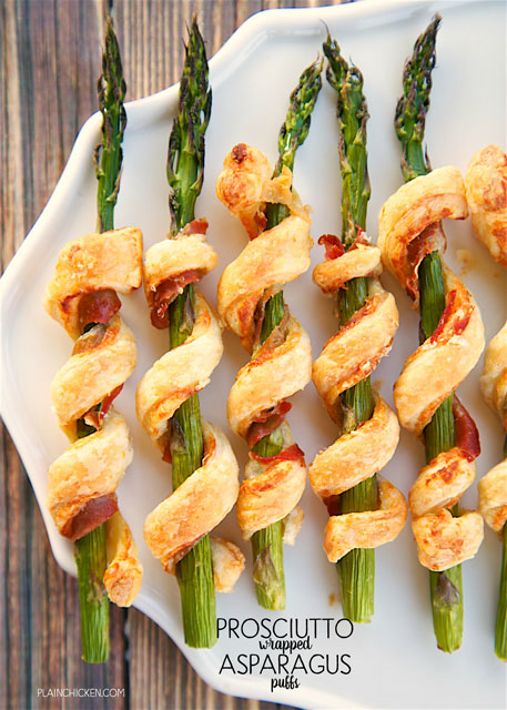 Prosciutto Wrapped Asparagus Puffs - only 5 ingredients! Asparagus, prosciutto, dijon mustard, parmesan cheese and puff pastry. Great side dish or appetizer. Can make ahead of time and freezer for later. You can't go wrong with this recipe! SO easy and delicious!!