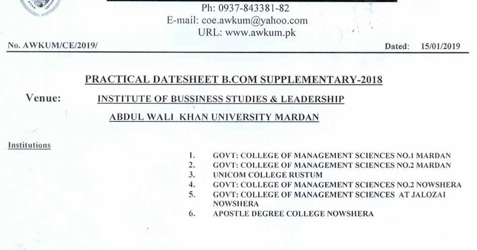 Sheet, Practical Date Sheet B Com Supplementary - 2018