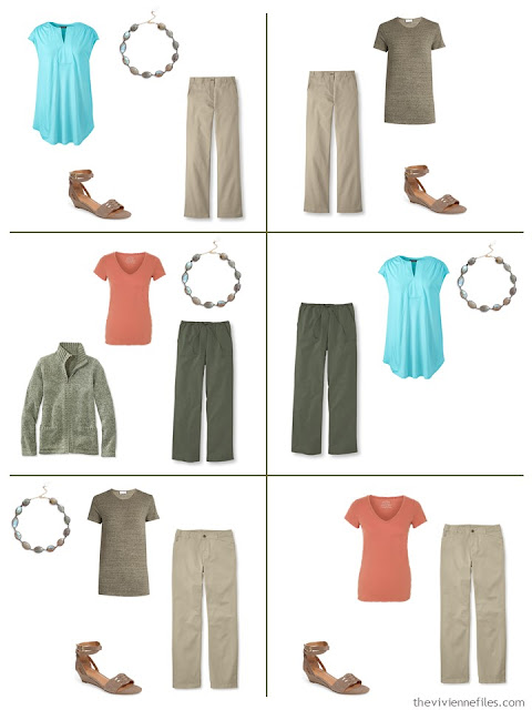 six outfits using labradorite as an accent to olive green and beige