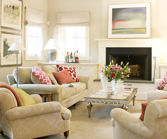 Ideas For A Bare Living Room Wall 3d Modern Furniture 2013 Neutral Decorating From Bhg Cozy Arrangement Of Comfortable Upholstered Pieces Encourages Gathering Good Company In This When It S Movie Time Built Cabinetry