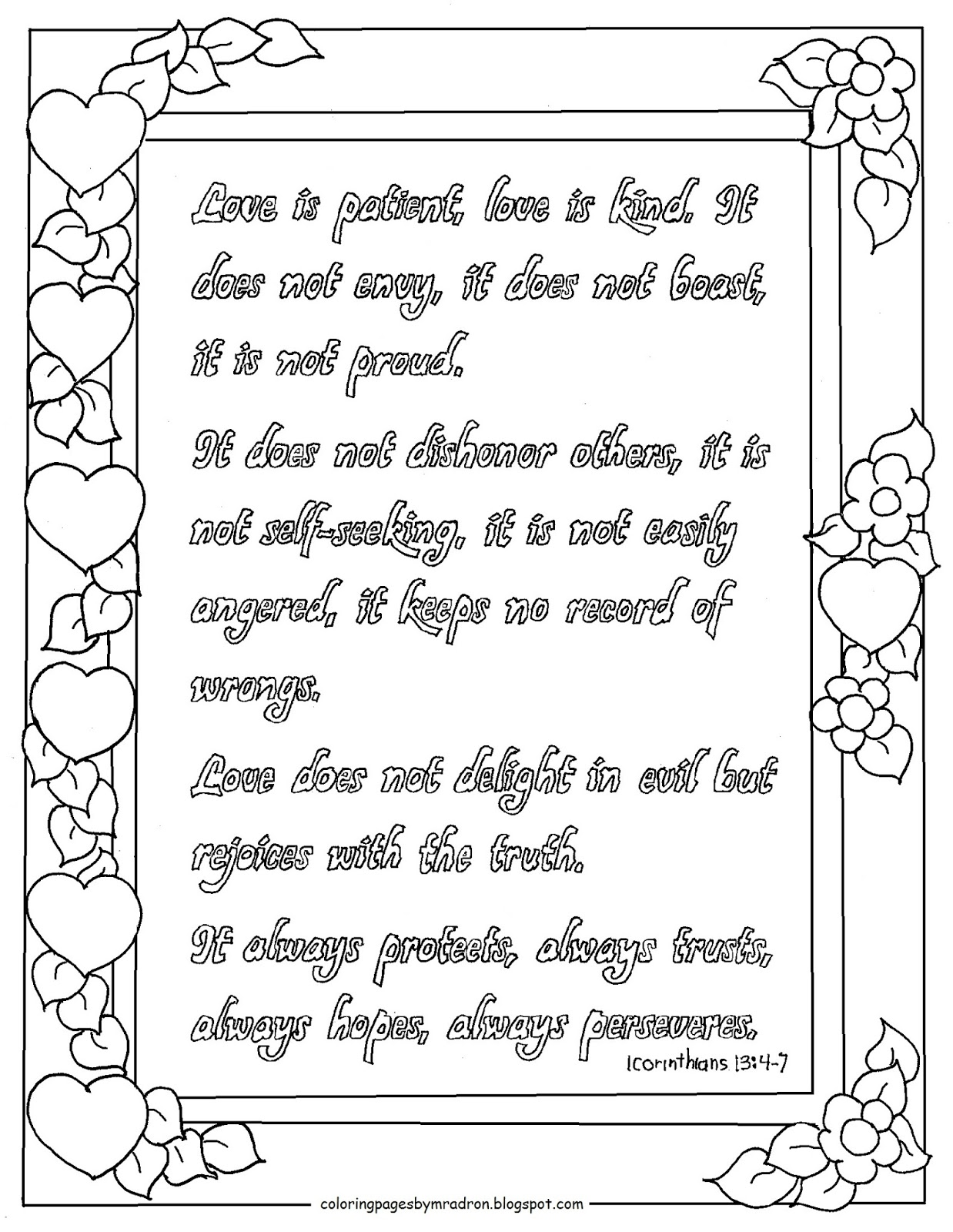 Coloring Pages For Kids By Mr Adron Printable 1 Corinthians 13 4 7 Coloring Page