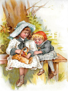 children antique clipart illustration artwork picnic basket