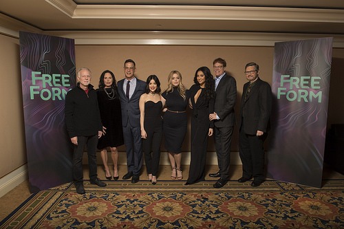 Lucy Hale, Shay Mitchell, Sasha Pieterse, Marlene King, Joseph Dougherty, Charlie Craig and Oliver Goldstick