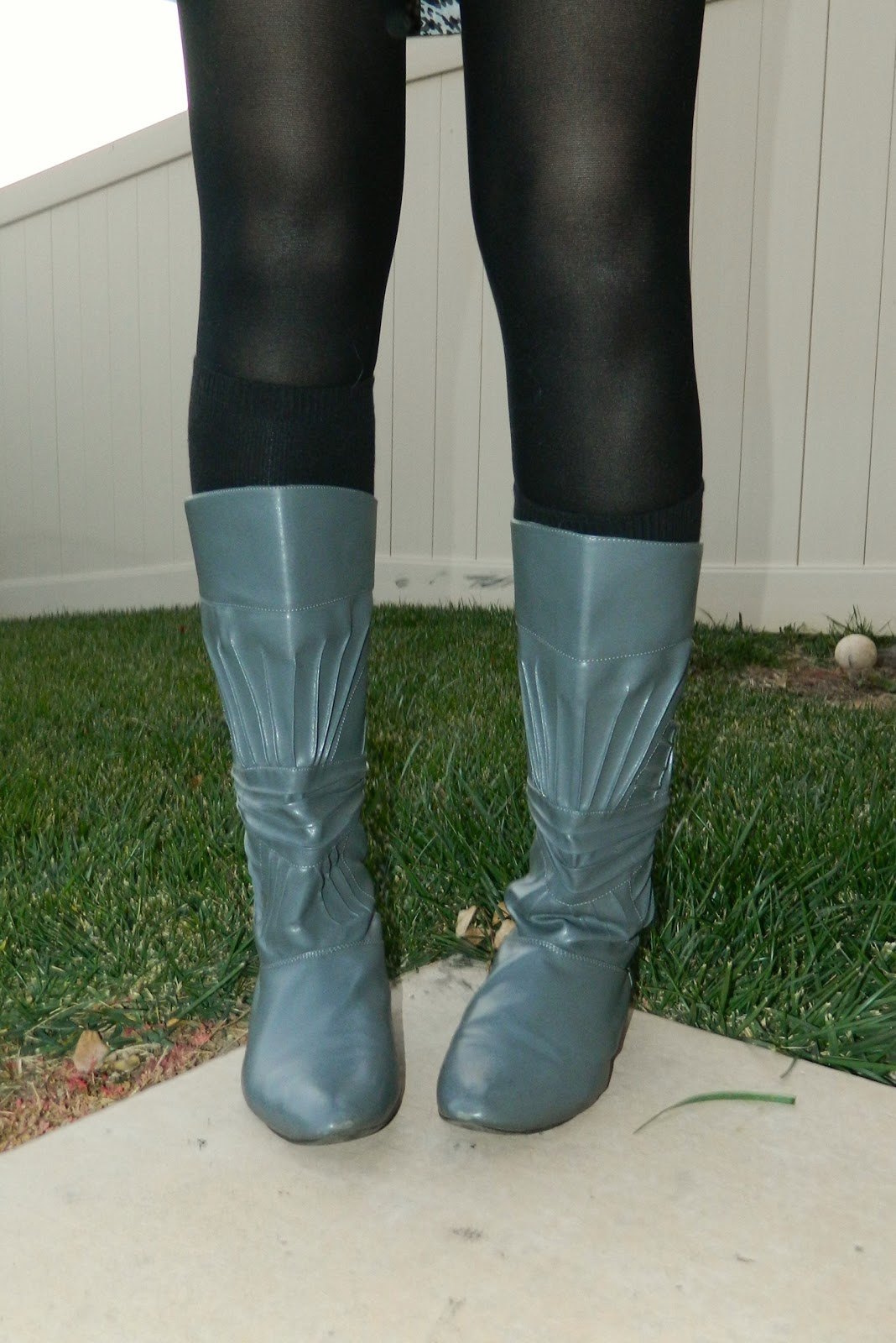 black tights, grey boots