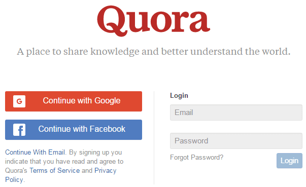 Create-Account-On-Quora-By-Using-Facebook-&-Google-Account