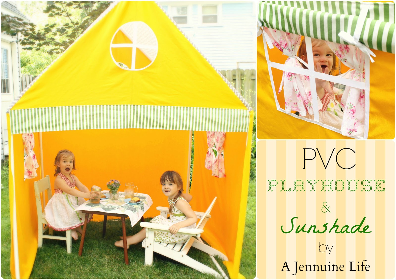 I created a playhouse-slash-sunshade out of PVC pipe and a tent I sewed to keep them covered while they enjoy hours of fun using their imaginations!  sc 1 st  The Girl Creative & PVC Playhouse and Sunshade create memories with kids - The Girl ...