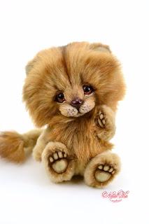 Artist teddy lion, one of a kind, lion teddy, handmade lion, NatalKa Creations, teddies with charm, stuffed animal, Löwe, Tedddy Löwe