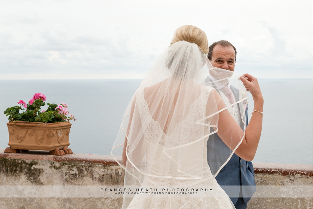First look father of bride in Positano