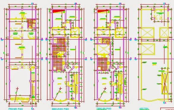 Descargar planos en autocad dwg plano de vivienda for Planos de casas 6x20