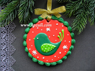 Новогоднее печенье с глазурью Рождественская птичка, мастер-класс
