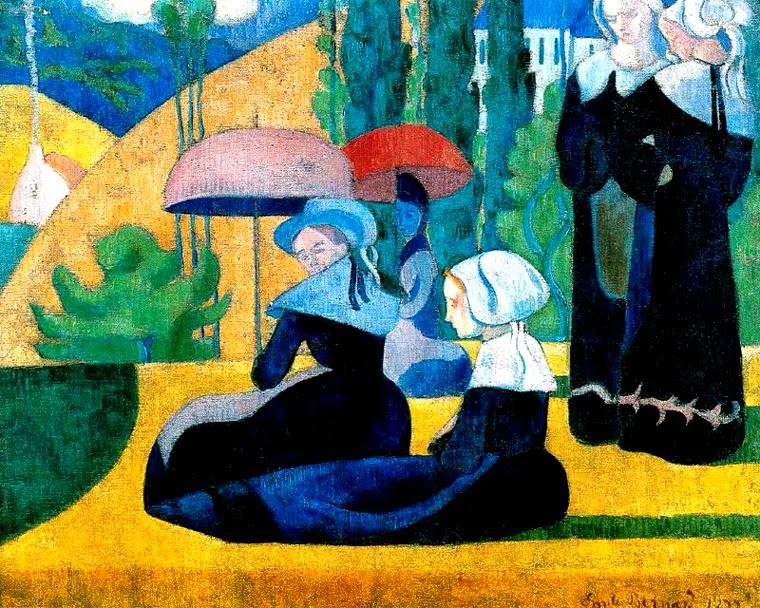 Mulheres Bretan com Guarda-Chuva - Émile Bernard e suas principais pinturas