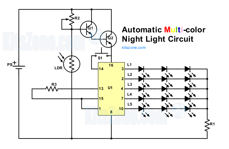 [multi-colour] automatic night lamp circuit diagram using ldr and cd4017