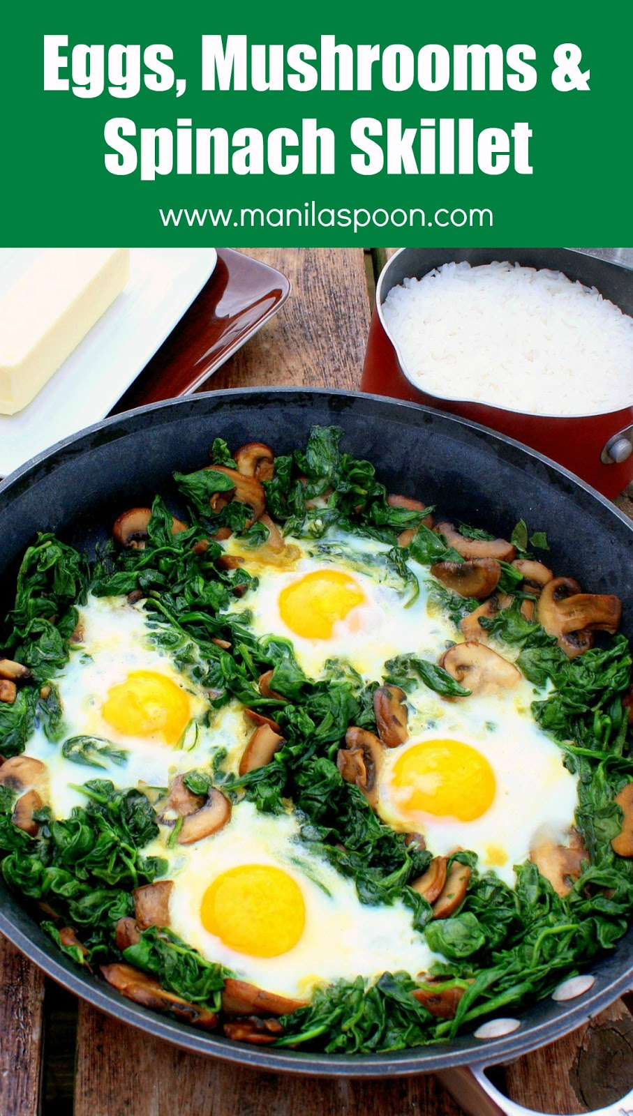breakfast or brunch dish - Eggs, Spinach and Mushrooms Skillet ...
