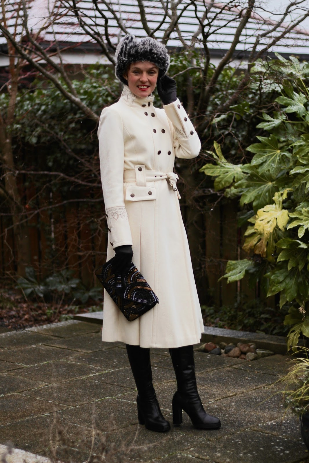Fake Fabulous | White Statement Winter Coat | Military style & a Fur Hat.