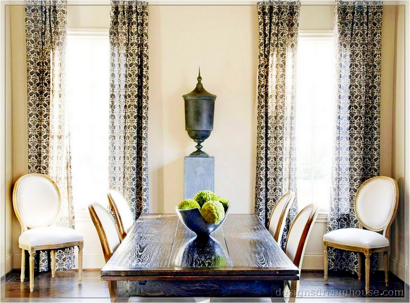 Casual dining room curtains - Amazing White Casual Dining Room Curtain Ideas