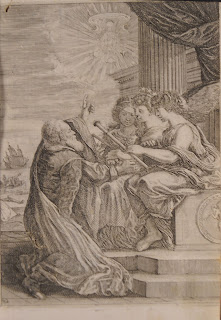 A detailed illustration of an older man kneeling o speak with a group of women, pointing at the sun.