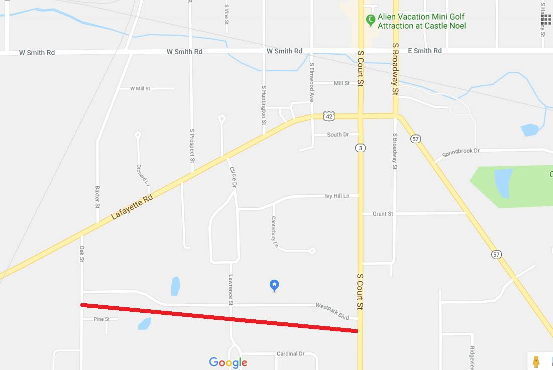 in this screen shot from google maps west park blvd is right above the red line it is south west of medina square and runs between south court street on