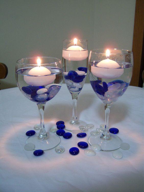 18 ideas para decorar copas para bodas y fiesta de quince - Copas decoradas con velas ...
