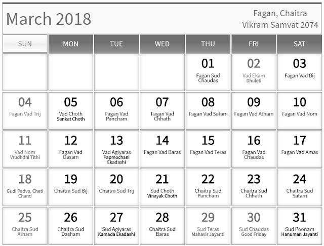 March 2018 Hindu Calendar with Tithi