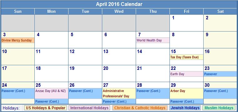 April 2016 Blank Printable Calendar