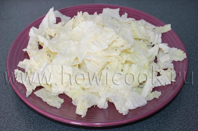 рецепт салата с курицей, беконом и пекинской капустой с пошаговыми фото