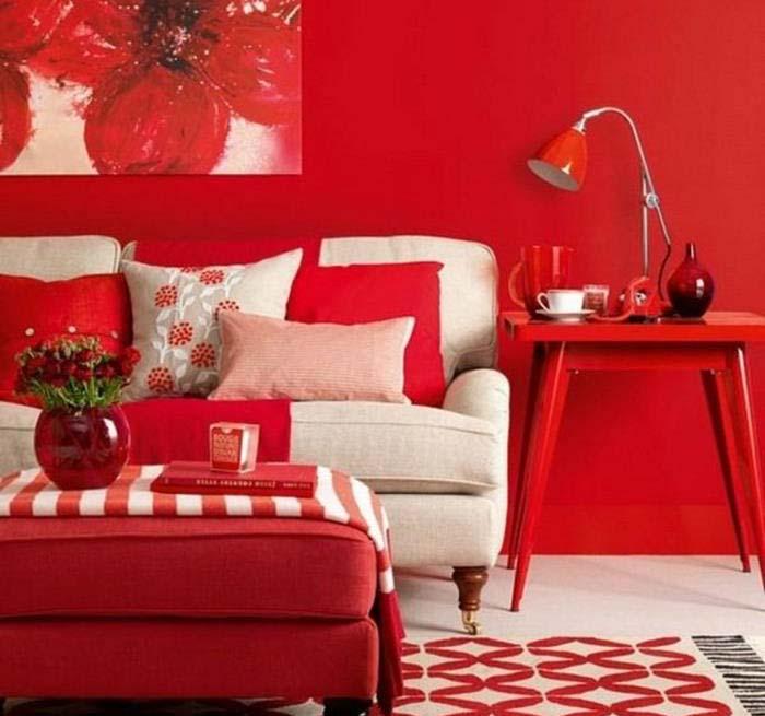 kırmızı oturma odası örnek fikirler