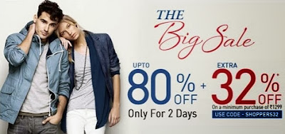 Jabong Big Sale : Upto 80% + Extra 32% Off On cart Value of Rs.1299