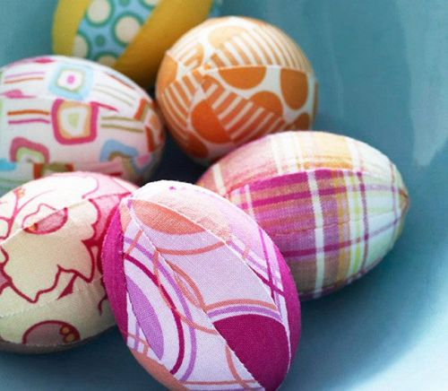 colorful fabric-covered Easter eggs