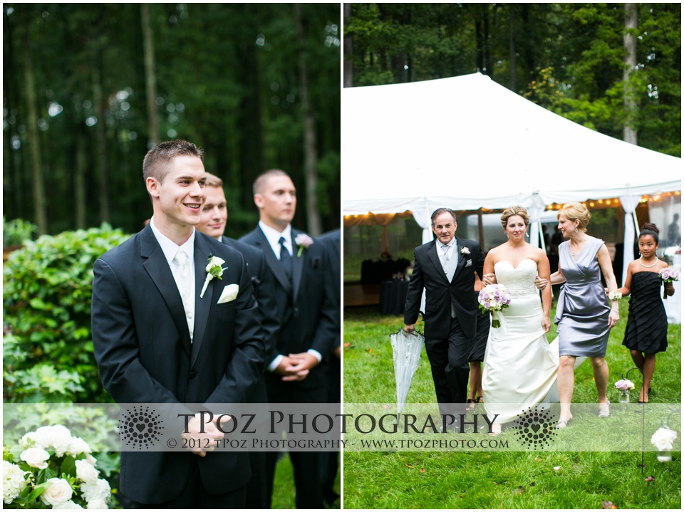 Backyard tent wedding ceremony Baltimore
