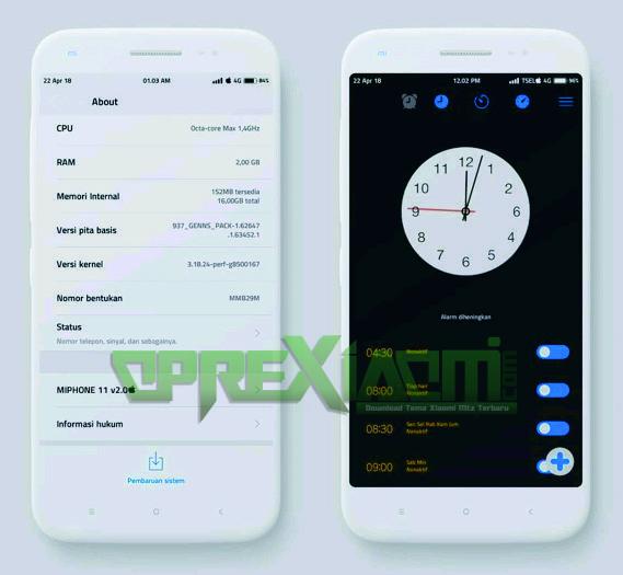 Download Tema MiPhone 11 Mtz V2.0 Full Center Clock Terbaru