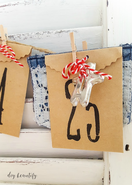 Turn an old shutter into a functional Christmas countdown advent calendar! Your kids will love it and it will add farmhouse charm to your home all season long. For instructions please visit www.diybeautify.com.