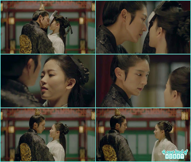 wang soo remove the mask and about to kiss her and stopped then he realize she is not hae soo but yeon hwa - Moon Lovers Scarlet Heart Ryeo - Episode 18 (Eng Sub)