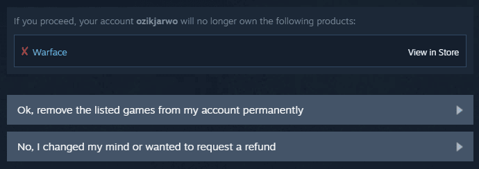 Ok, remove the listed games from my account permanently