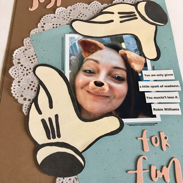 Just For Fun Scrapbook Page by Angela Tombari for The Robin's Nest DT