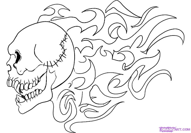 Easy Drawing Of Skulls Coloring Coloring Pages