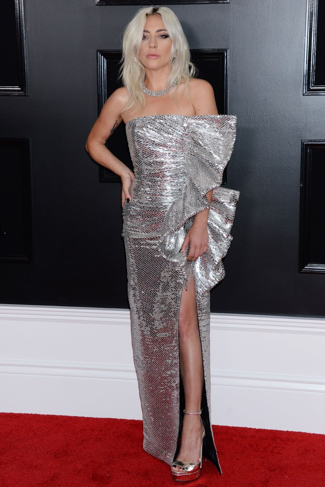 Lady Gaga is a vixen in metallic gown at the 2019 Grammys
