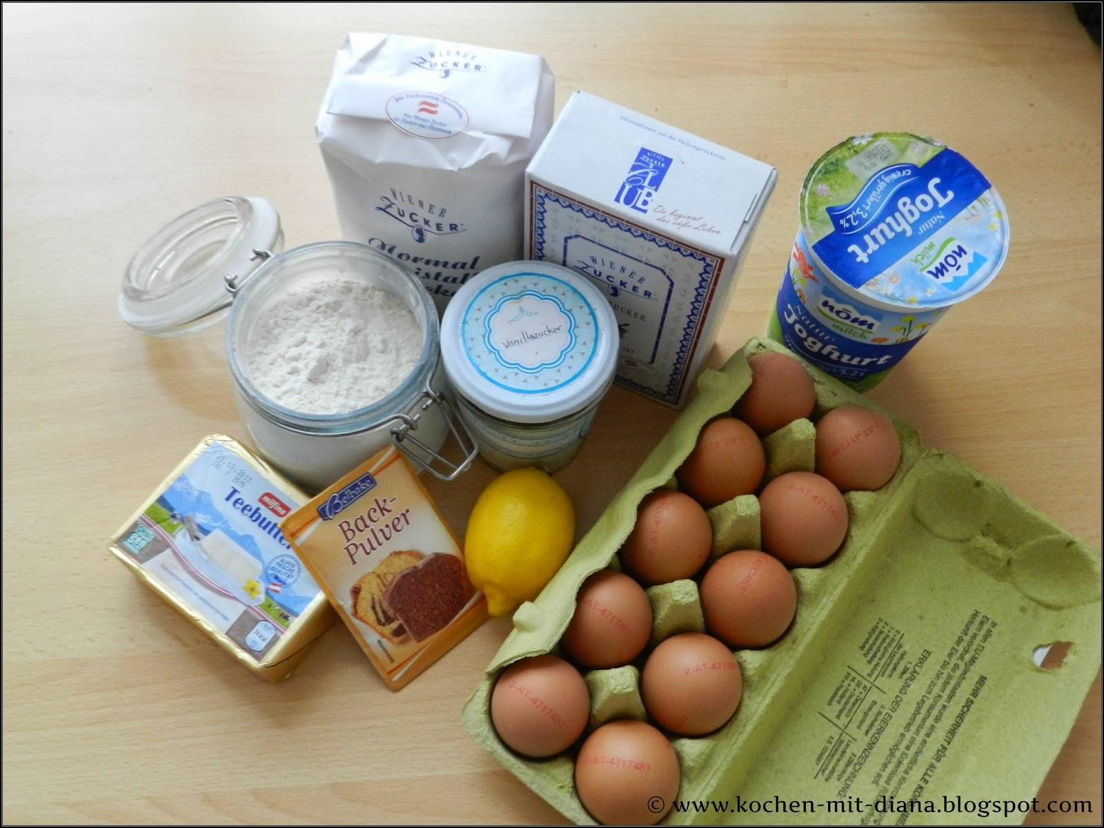 Zutaten Zitronen-Joghurt Kuchen