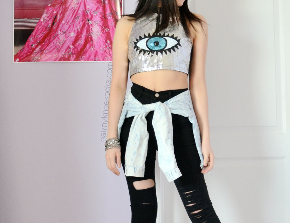 5a05e8a931af3 SheInside s Reverse Eye Candy crop top dupe and ripped black high-waisted  jeans make for