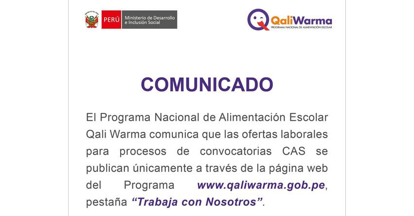 QALI WARMA: Convocatoria CAS 2017 - Postula al Programa Nacional de Alimentación Escolar - www.qaliwarma.gob.pe