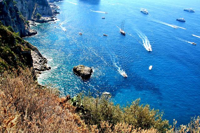mare, acqua, azzurro, scogli, vegetazione, isola Capri