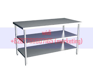 Working table with double shelf