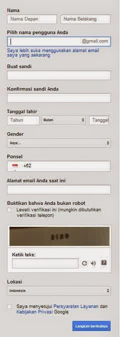 mengisi data email