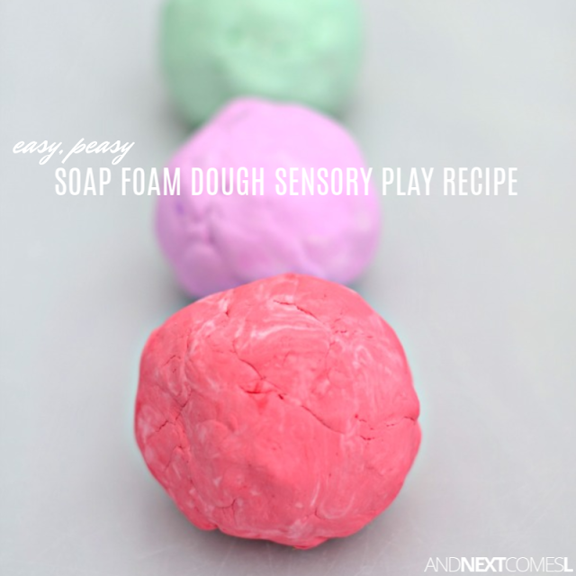 How to make soap foam dough - a fun homemade play dough alternative for kids