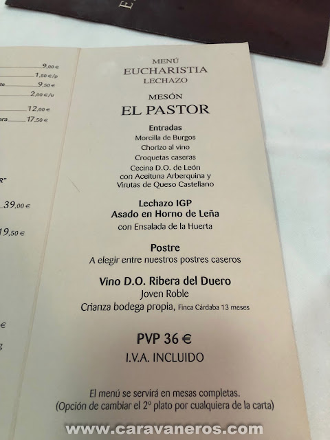 Menú mesón el Pastor Aranda de Duero | caravaneros.com